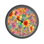 Hippie Psychedelic Flower Pattern Wall Clock