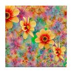 Hippie Psychedelic Flower Pattern Tile Coaster