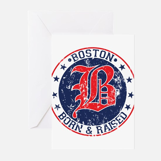 Boston born and raised red Greeting Cards (Pk of 1