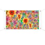 Hippie Psychedelic Flower Pattern Banner