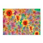 Hippie Psychedelic Flower Pattern 5'x7'Area Rug