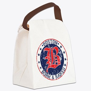 Boston born and raised red Canvas Lunch Bag