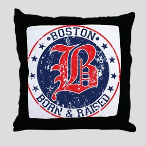 Boston born and raised red Throw Pillow