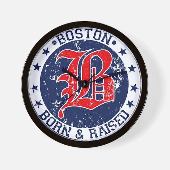 Boston born and raised red Wall Clock