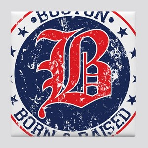 Boston born and raised red Tile Coaster