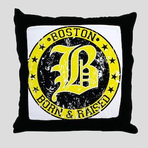 Boston born and raised yellow Throw Pillow