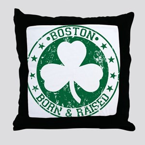 Boston clover born and raised green Throw Pillow