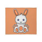 Kawaii Orange Bunny Throw Blanket