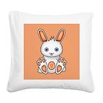 Kawaii Orange Bunny Square Canvas Pillow