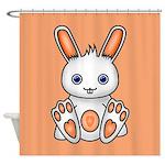 Kawaii Orange Bunny Shower Curtain
