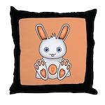 Kawaii Orange Bunny Throw Pillow