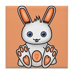 Kawaii Orange Bunny Tile Coaster