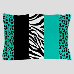 Teal Blue Animal Print Stripes Zebra Leopard Pillo