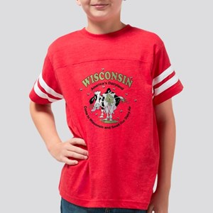 Wisconsin Dairy Cow Youth Football Shirt