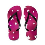 Pink and White Stars Flip Flops