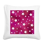 Pink and White Stars Square Canvas Pillow
