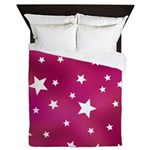 Pink and White Stars Queen Duvet