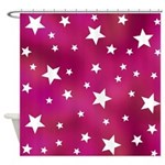 Pink and White Stars Shower Curtain