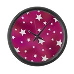 Pink and White Stars Large Wall Clock