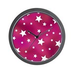 Pink and White Stars Wall Clock