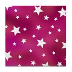Pink and White Stars Tile Coaster