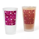 Pink and White Stars Drinking Glass