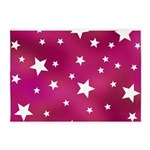 Pink and White Stars 5'x7'Area Rug