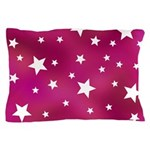 Pink and White Stars Pillow Case