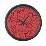 Red Stars Large Wall Clock