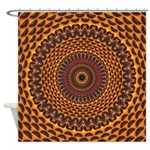 Golden Rainbow Mandala Pattern Shower Curtain