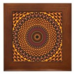 Golden Rainbow Mandala Pattern Framed Tile