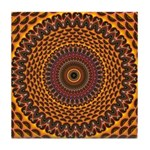 Golden Rainbow Mandala Pattern Tile Coaster