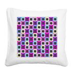 Pastel Rainbow Cat Pattern Square Canvas Pillow