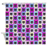 Pastel Rainbow Cat Pattern Shower Curtain