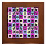Pastel Rainbow Cat Pattern Framed Tile