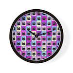 Pastel Rainbow Cat Pattern Wall Clock