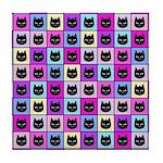 Pastel Rainbow Cat Pattern Tile Coaster
