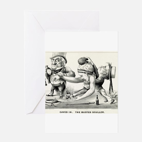 Caved in - The busted sculler - 1876 Greeting Card