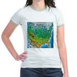 USA Cartoon Map Jr. Ringer T-Shirt