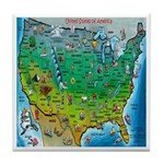USA Cartoon Map Tile Coaster
