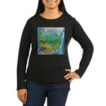 USA Cartoon Map Women's Long Sleeve Dark T-Shirt