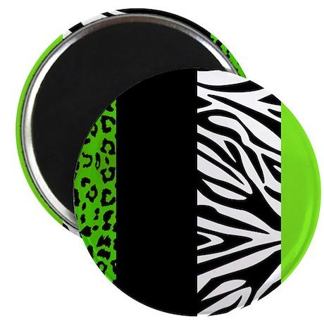 Lime Green Animal Print Stripes Zebra Leopard Magn