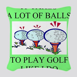 funny golf golfer golfing joke Woven Throw Pillow