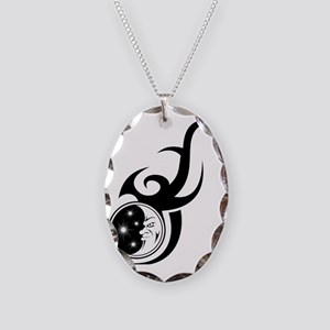 tribal celestial moon and star Necklace Oval Charm