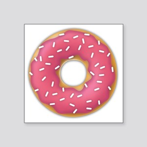 "pink frosted sprinkles donu Square Sticker 3"" x 3"""