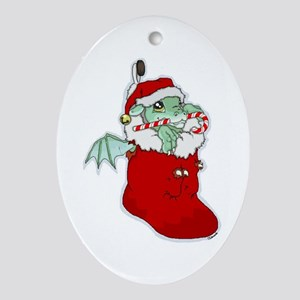 Dragon Stocking Oval Ornament