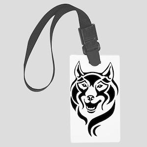 tribal tattoo style wolf head Large Luggage Tag