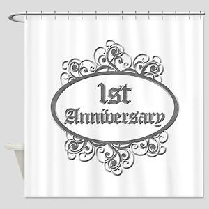 1st Wedding Aniversary (Engraved) Shower Curtain
