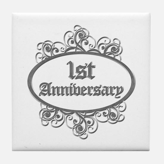 1st Wedding Aniversary (Engraved) Tile Coaster