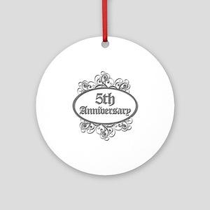 5th Wedding Aniversary (Engraved) Ornament (Round)